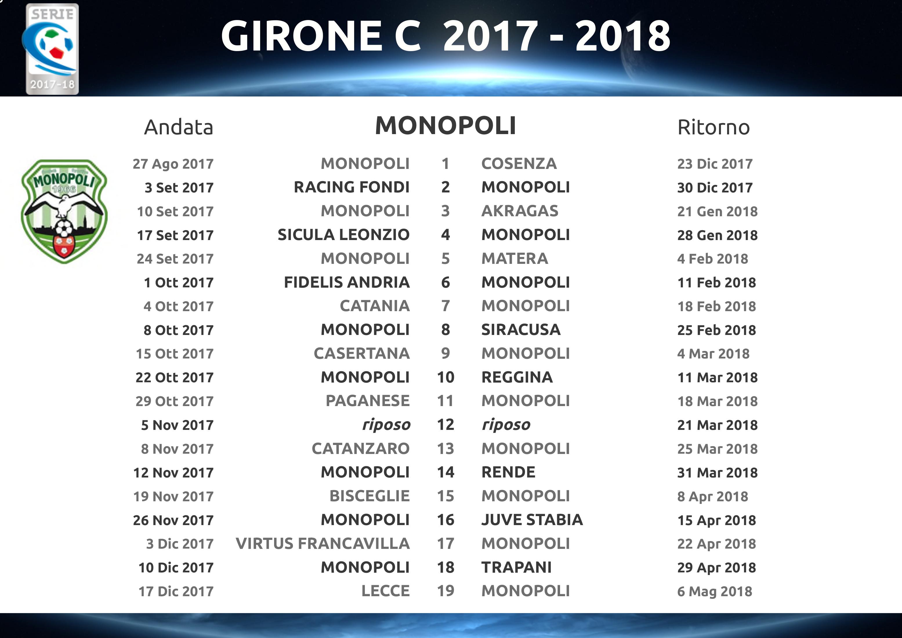 Calendario Serie C.Calendario Serie C 2017 2018 S S Monopoli 1966