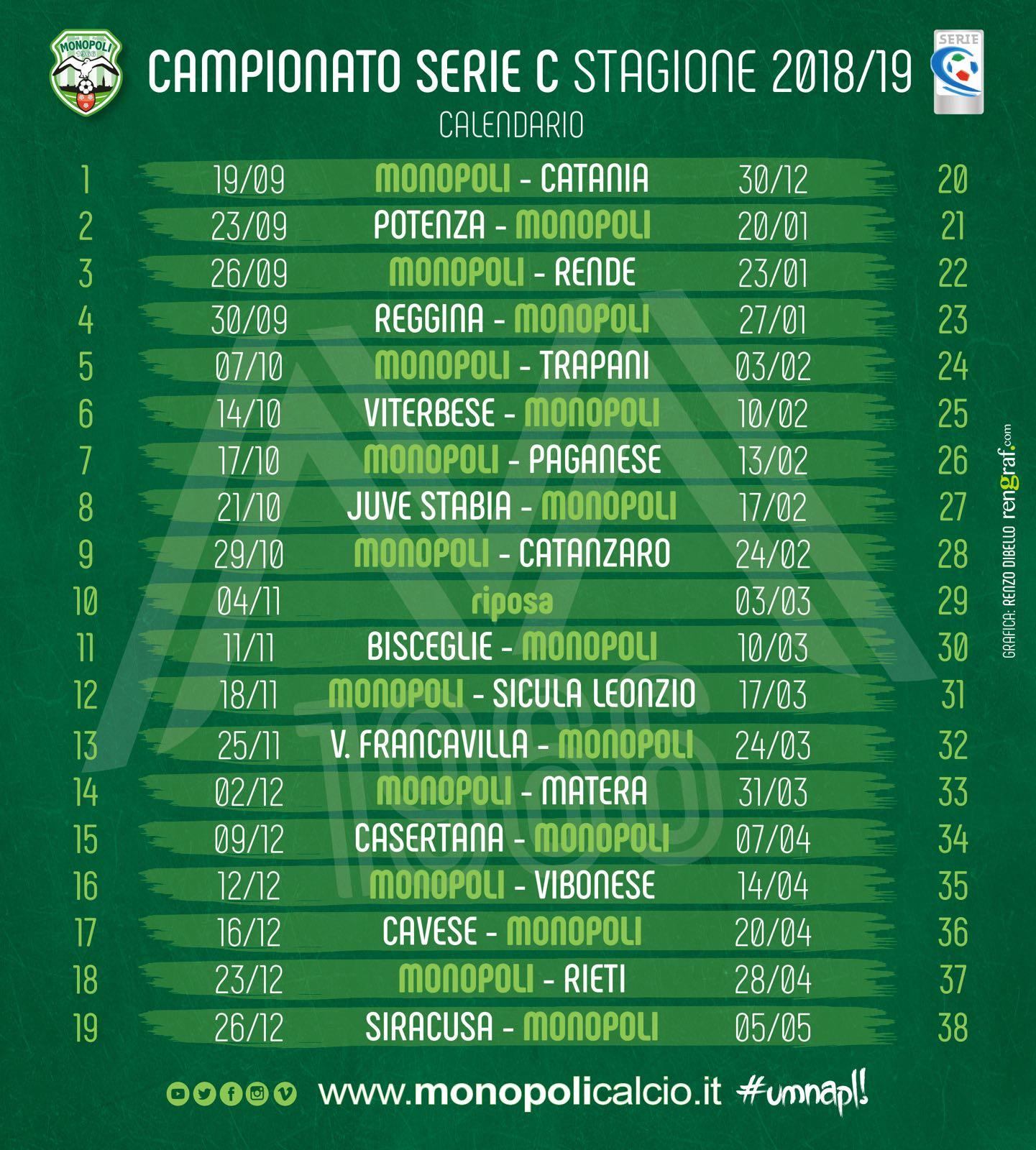 Calendario Serie C.Serie C Gir C Il Calendario Del Monopoli S S Monopoli 1966